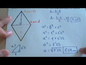 Área y perímetro de un rombo con el teorema de Pitágoras