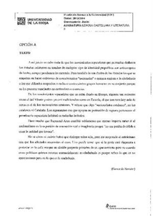 Examen de Selectividad: Lengua castellana y su Literatura. La Rioja. Convocatoria Junio 2014