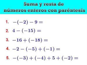 Suma y resta de números enteros con paréntesis