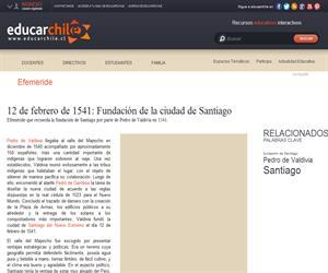 Efeméride fundación de Santiago (Educarchile)