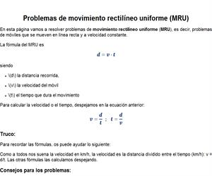 Movimiento Rectilíneo Uniforme (Problemas)