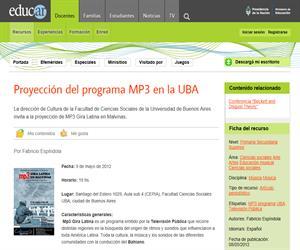 Proyección del programa MP3 en la UBA