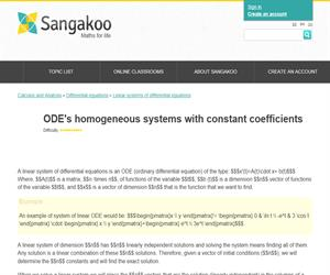 ODE's homogeneous systems with constant coefficients
