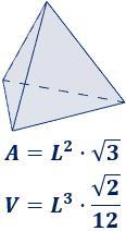 Área y volumen de la pirámide triangular