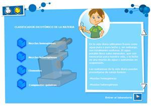 Clasificador dicotómico de la materia: mezclas,  elementos y compuestos químicos