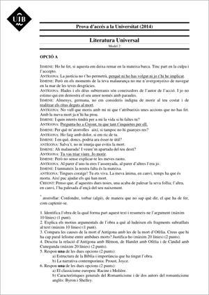 Examen de Selectividad: Literatura universal. Islas Baleares. Convocatoria Junio 2014
