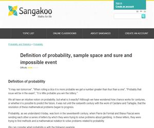 Definition of probability, sample space and sure and impossible event