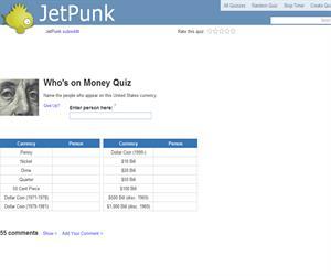 Who's on Money Quiz