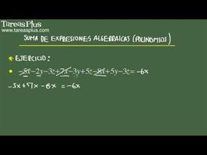 Suma de expresiones algebraicas problema 8 de 15 (Tareas Plus)