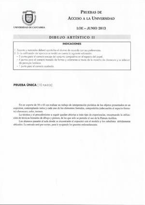 Examen de Selectividad: Dibujo artístico. Cantabria. Convocatoria Junio 2013