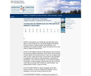 Diccionario y glosario de climatología. Laboratorio de climatología de la Universidad de Alicante