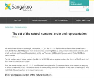 The set of the natural numbers, order and representation