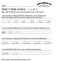 Cursive Handwriting Worksheet for the Letter u (Educarchile)