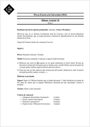 Examen de Selectividad: Dibujo artístico. Islas Baleares. Convocatoria Junio 2014