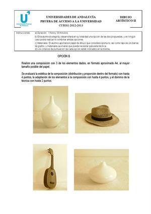 Examen de Selectividad: Dibujo artístico. Andalucía. Convocatoria Septiembre 2013