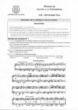 Examen de Selectividad: Historia de la música y la danza. Cantabria. Convocatoria Septiembre 2013