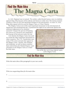 Find the Main Idea: The Magna Carta