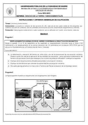 Examen de Selectividad: Ciencias de la Tierra. Madrid. Convocatoria Septiembre 2013
