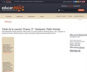 Título de la canción: Poema 15 / Intérprete: Pablo Neruda (Educarchile)