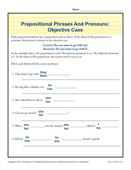 Prepositional Phrases And Pronouns: Objective Case