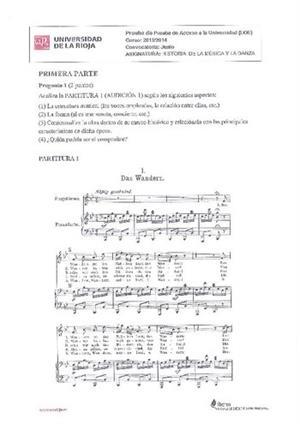 Examen de Selectividad: Historia de la música y la danza. La Rioja. Convocatoria Junio 2014