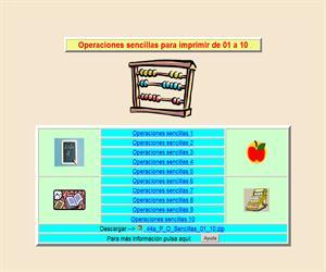 Operaciones sencillas para imprimir de 1 a 10, ficha de cálculo