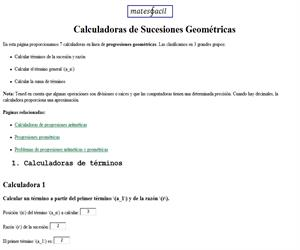 Calculadoras de progresiones geométricas