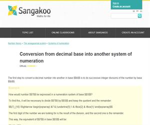 Conversion from decimal base into another system of numeration