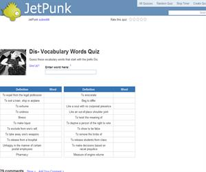 Dis- Vocabulary Words Quiz