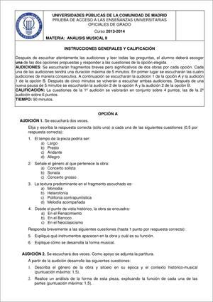 Examen de Selectividad: Análisis musical. Madrid. Convocatoria Junio 2014