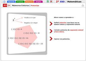 Potencias con números enteros. Matemáticas para 2º de Secundaria