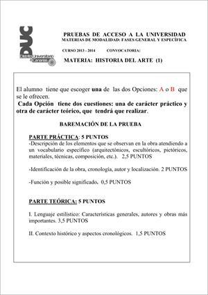 Examen de Selectividad: Historia del arte. Comunidad Canaria. Convocatoria Junio 2014