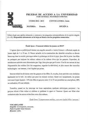 Examen de Selectividad: Francés. Canarias. Convocatoria Junio 2013