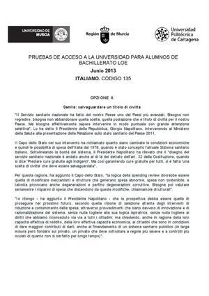 Examen de Selectividad: Italiano. Murcia. Convocatoria Junio 2013