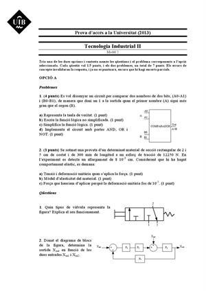 Examen de Selectividad: Tecnología industrial. Islas Baleares. Convocatoria Septiembre 2013