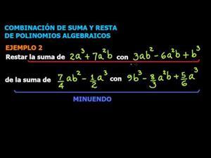 Combinación de Suma y Resta de Polinomios Algebraicos