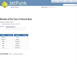 Months of the Year in French Quiz