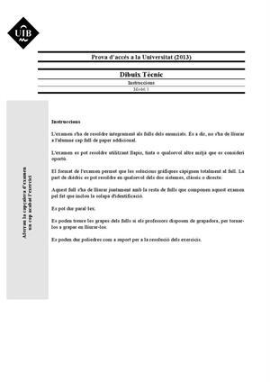 Examen de Selectividad: Dibujo técnico. Islas Baleares. Convocatoria Junio 2013