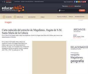Carta reducida del estrecho de Magallanes, fragata de SM Santa <b>...</b> (Educarchile)