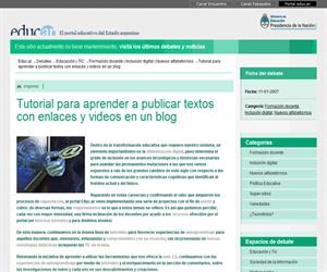 Textos con enlaces y videos en un blog