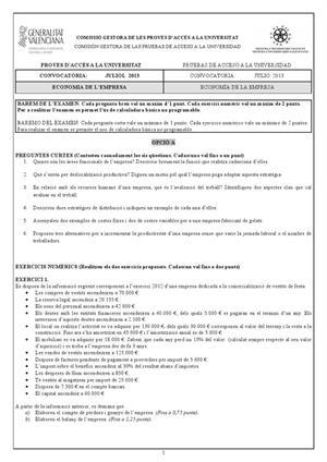 Examen de Selectividad: Economía. Comunidad Valenciana. Convocatoria Julio 2013