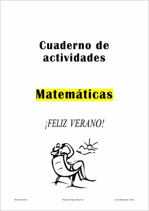 Cuaderno de actividades de Matemáticas (5º y 6º de Primaria). Parque-Colegio Santa Ana