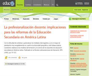 La profesionalización docente: implicaciones para las reformas de la Educación Secundaria en América Latina