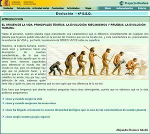 La evolución. El origen de la vida: unidad de Biología y Geología de 4º ESO (proyecto Biosfera)