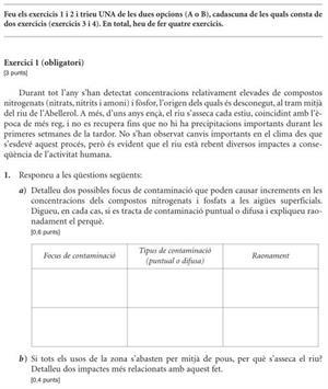 Examen de Selectividad: Ciencias de la Tierra y Medioambiente. Cataluña. Convocatoria Junio 2012
