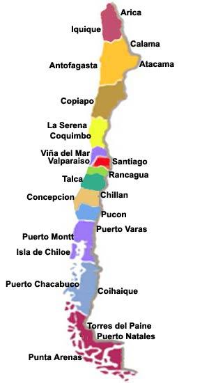 Mapa de las regiones de Chile