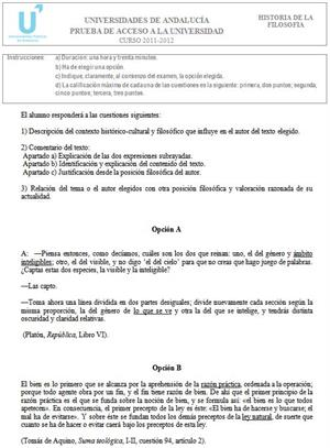 Examen de Selectividad: Historia de la Filosofía 2. Andalucía. Convocatoria Junio 2012