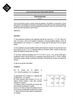 Examen de Selectividad: Electrotecnia. Islas Baleares. Convocatoria Junio 2013
