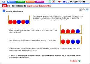 Experiencias dependientes. Matemáticas para 4º de Secundaria
