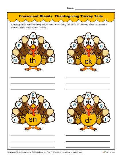 Consonant Blends: Thanksgiving Turkey Tails